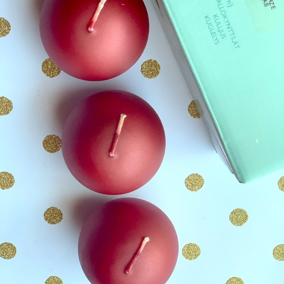 PartyLite Holiday Spice Red Pearl Ball Candles